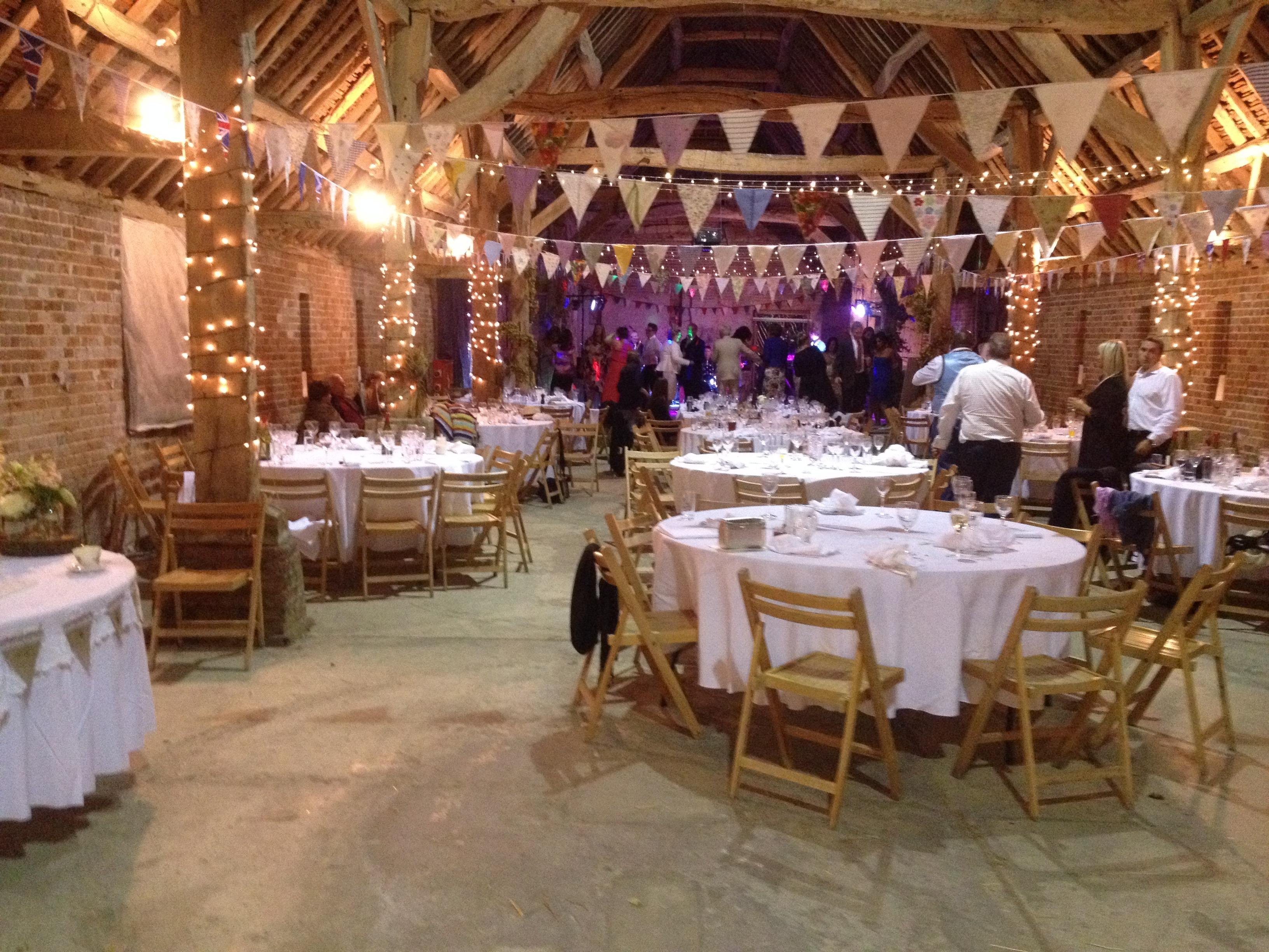 vintage barn with wedding bunting